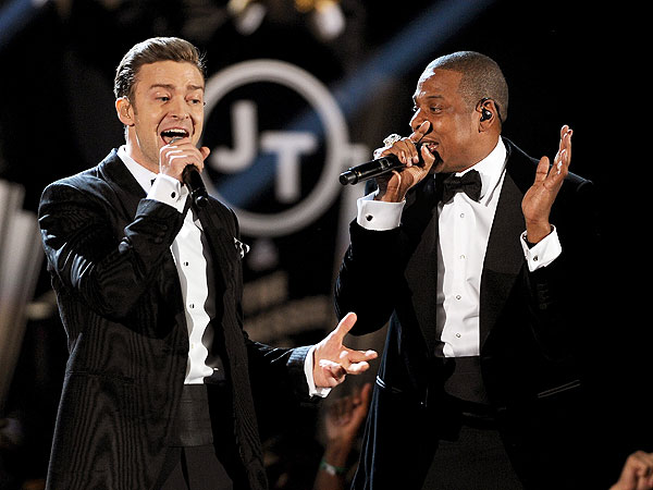 JT & Jay-Z perform at the 55th Grammy Awards