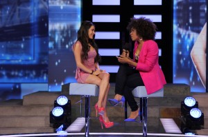 Host Arisa Cox picks Talla's brain after being evicted from the house.