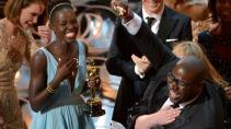 Steve McQueen accepting Oscar