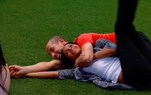 Adel & Ika have fun in one of the lighter moments in the BBCAN2 house.