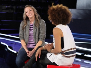 Host Arisa Cox chats with a shocked Allison immediately following her instant eviction.